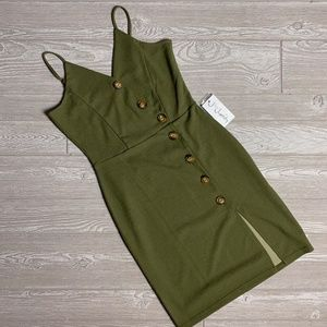 NWT JforJustify Green Button Slit Mini Dress - M
